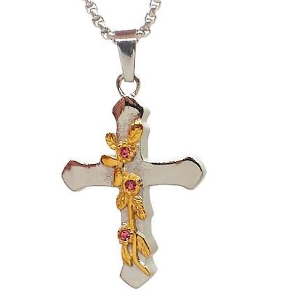 "Design 1388 Flowered Cross SGS, 18kt. GP, ZG 1 1/4"" H x 1"" W"