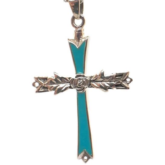 "Design 1401 Aqua Cross Sterling Silver1 3/4"" H x 1 1/4"" W"