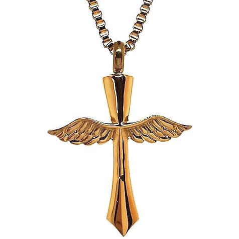 "Design 1414 Winged Cross SGS, 18 Kt. GP 1 1/4"" H x 1 1/4"" W"