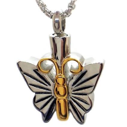 "Design 1504 Butterfly Pendent SGS., 18kt. GP, EN, 1 1/2"" H x 1/2"" W"