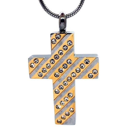 "Design 1638 Cross / Gems SGS., 18kt. GP, ZG, 1 1/2"" H x 1"" W"