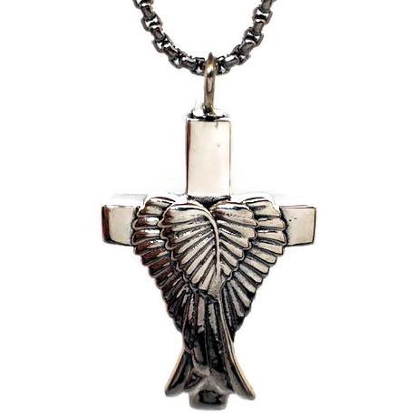 """Design 1739 Cross / Feathers Sterling, EN, 1 1/2"""" H x 1"""" W"""