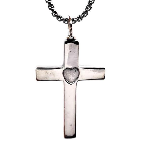 "Design 1824 Sterling Cross / Heart Sterling, 1 1/2"" H x 1"" W"